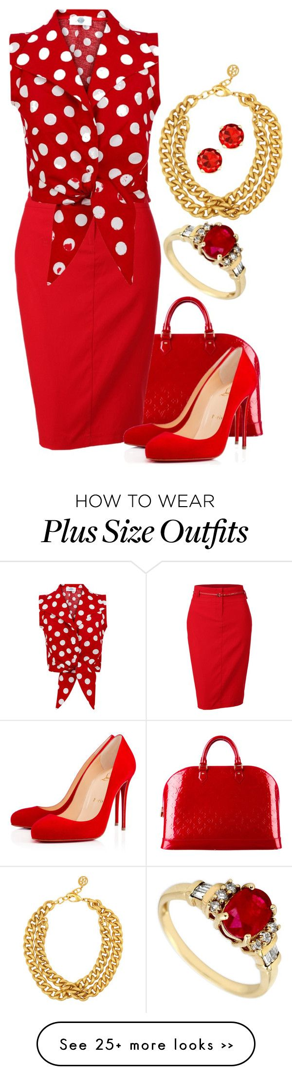 """Seeing Red and loving it!!"" by runners on Polyvore featuring Louis Vuitton, LE3NO, Christian Louboutin and Ben-Amun"