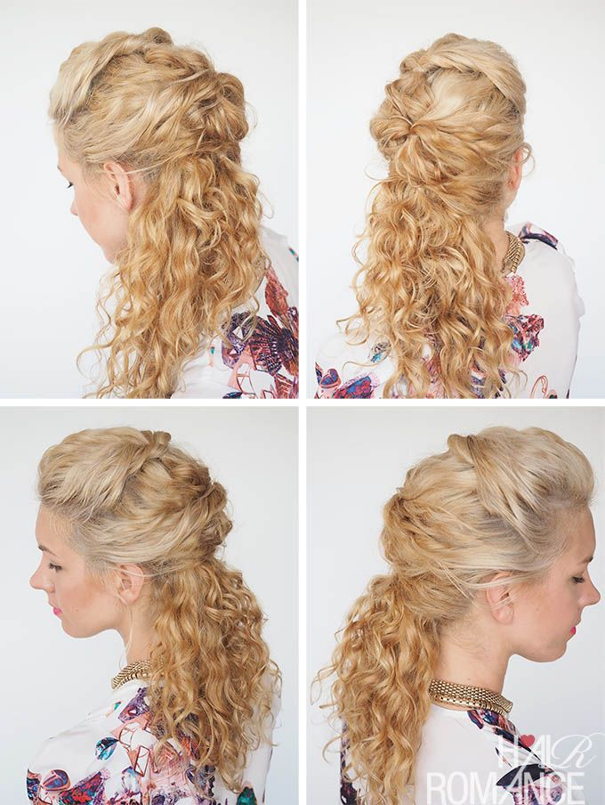 This style takes less than two minutes to do. Find it and over 36 more tutorials in Hair Romance's 30 Days of Curly Hairstyles ebook at http://www.hairromance.com/shop
