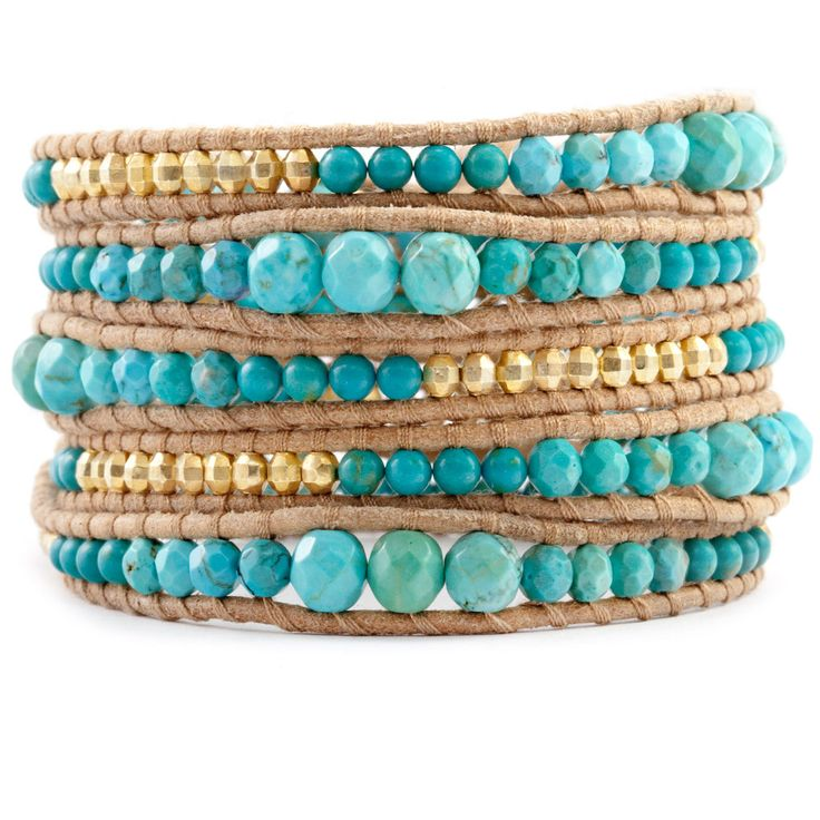 Chan Luu - Turquoise Mix Graduated Wrap Bracelet on Beige Leather, $230.00 (http://www.chanluu.com/wrap-bracelets/turquoise-mix-graduated-wrap-bracelet-on-beige-leather/)