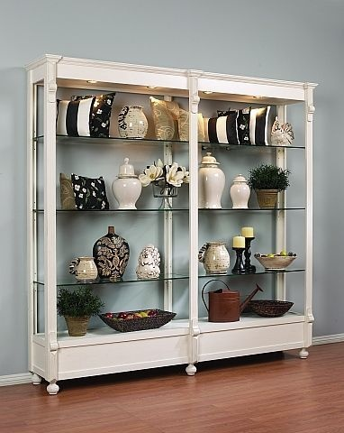 Retail Store Fixture White Display Shelving Furniture With Glass Used