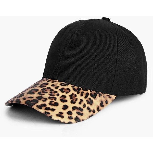 Boohoo Grace Leopard Baseball Cap ($10) ❤ liked on Polyvore featuring accessories, hats, black, leopard print baseball hat, fedora hat, mitt, baseball cap and baseball caps hats