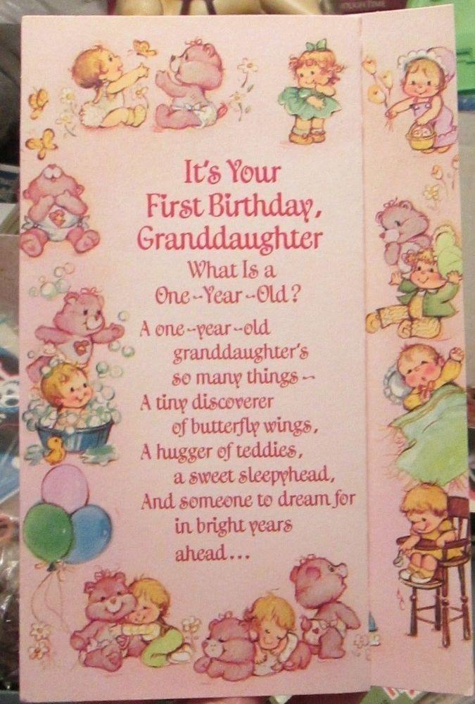 Vtg 1985 Care Bears Granddaughter 1st Birthday Greeting Card 3 Panel Pink Unused Granddaughter Birthday Birthday Cards Birthday Greeting Cards