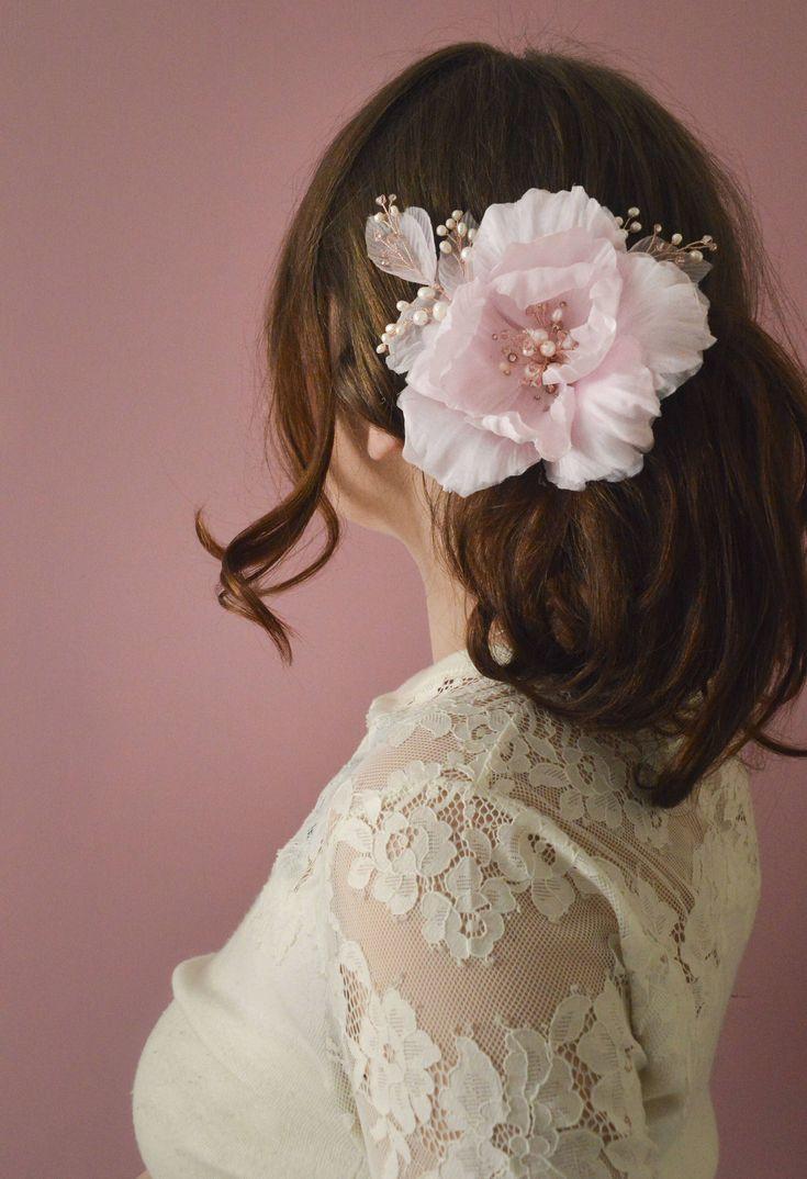 Bridal floral headpiece, blush pink rose, wedding fascinator