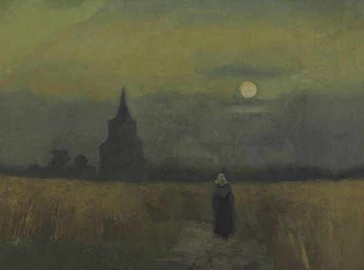 Art of the Day: Van Gogh, The Old Tower in the Fields, July 1884. Oil on canvas, mounted on cardboard, 35 x 47 cm. Private collection.