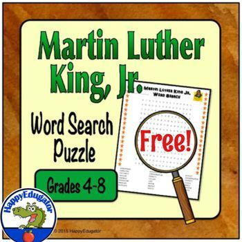 Martin Luther King Jr. FREE Word Search Puzzle based on the life of Dr. Martin Luther King Jr. Medium difficulty wordsearch for your students to solve. Useful as an extension or reinforcement activity for when you study MLK or to support Black History month.