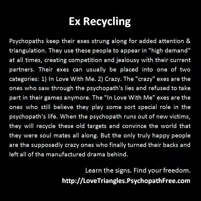 Ex recycling  and narcissistic sociopath relationship abuse