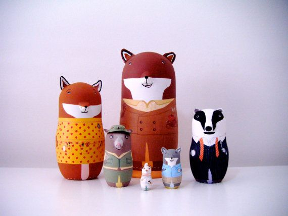 The Fantastic Mr Fox Matryoshka Dolls von bobobabushka auf Etsy, $160.00