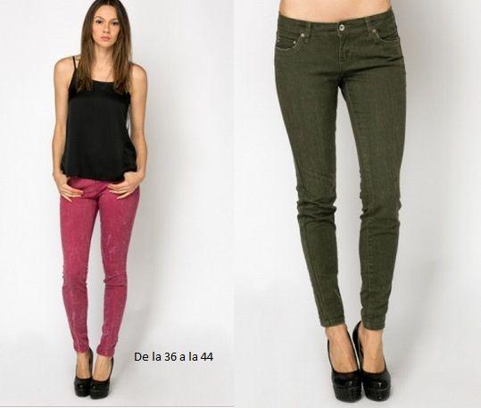 Pantalones vaqueros desgastados , disponibles en las tallas 36 a 44. En rosa y verde. www.monanva.com