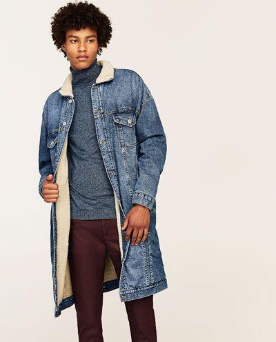 ZARA | denim jacket with lamb imitation