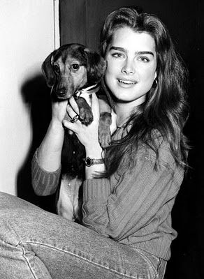 """Famous people (Brooke Shields) + Dogs  """"A dog is the only thing on earth that loves you more than you love yourself."""" ~Josh Billings"""