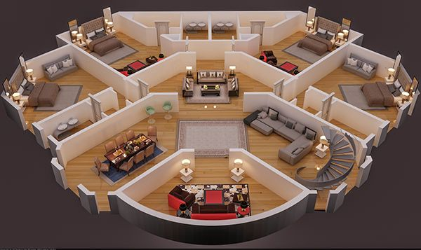 3d Floor Plan Render In 3d Max With Vray On Behance Home Design Floor Plans Luxury House Floor Plans Round House Plans