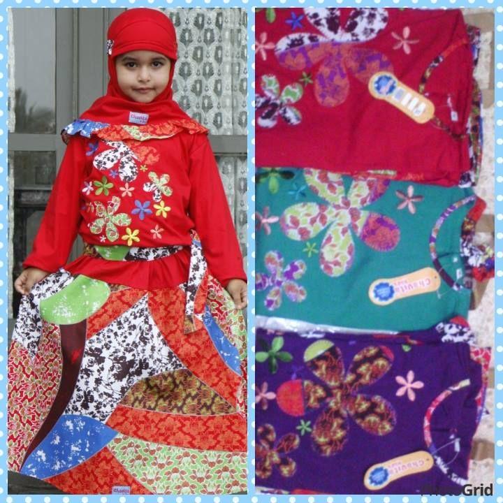 busana muslim anak, motif rame, model rok putusan ukuran 1,2,3,4 untuk anak umur 3 sampai 7 tahun