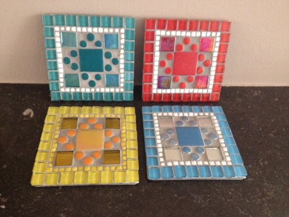 glass stained mosaic coaster mosaic coaster by CapolavoriDiMosaico