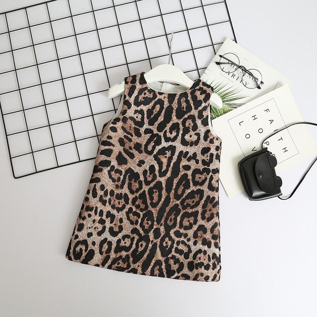 fcd6a5f7a4 Baby Girl Leopard Print Dress Toddler Kids Designer Party Dress Sleeveless  Children Fashion Boutique Clothes Girl Holiday Dress