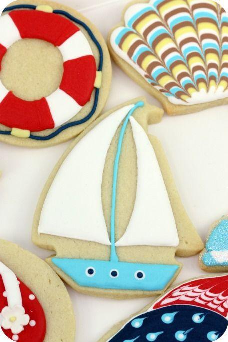 sailboat livesaver decorated cookie