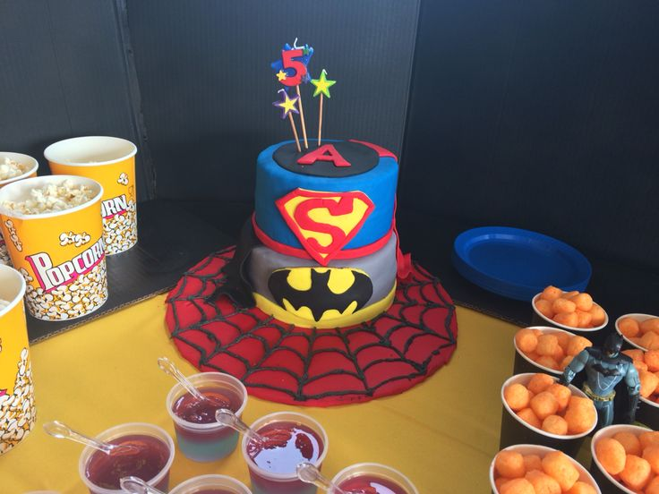 Adrian's Superhero cake with an Incredibles A instead of I for his name.