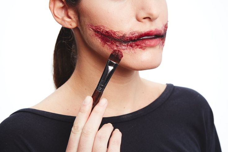 Paint on eye shadow and red lipstick until you get the bloody effect you want. Add more foundation around t...