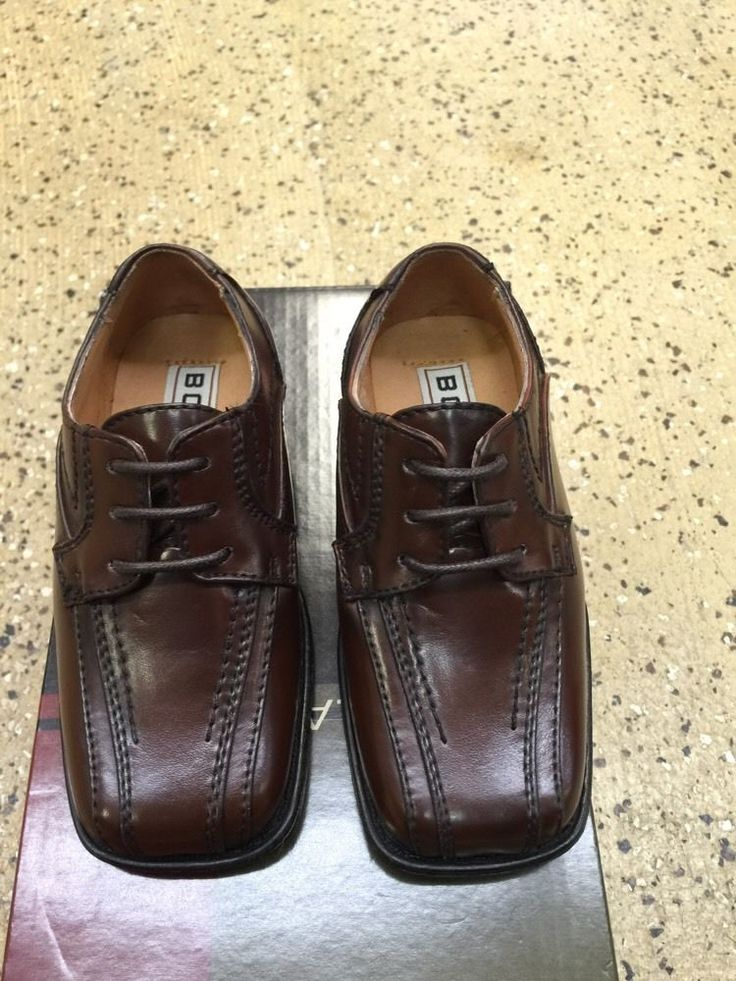Bolano new infant boys solid brown dress shoes k5187065