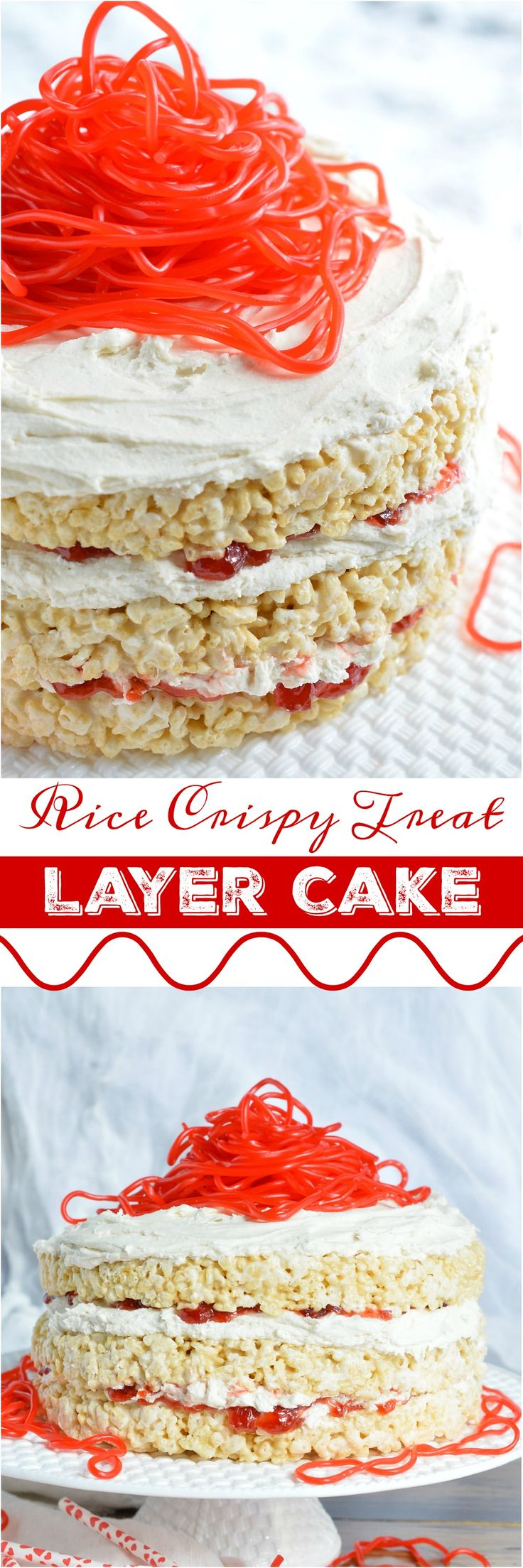 This Rice Crispy Treat Candy Cake is a fun and whimsical dessert recipe. Perfect for Valentine's Day, kids birthdays or for anyone that doesn't like traditional cake. Three layers of rice crispy treats smeared with vanilla butter cream, strawberry jam then topped with strawberry licorice ropes! (ad)