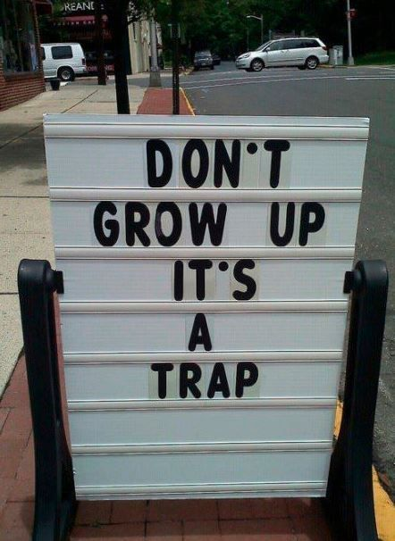 //: Growingup, Stay Young, Funny Signs, Young At Heart, Funny Pictures, Growing Up, So True, True Stories, Peter Pan