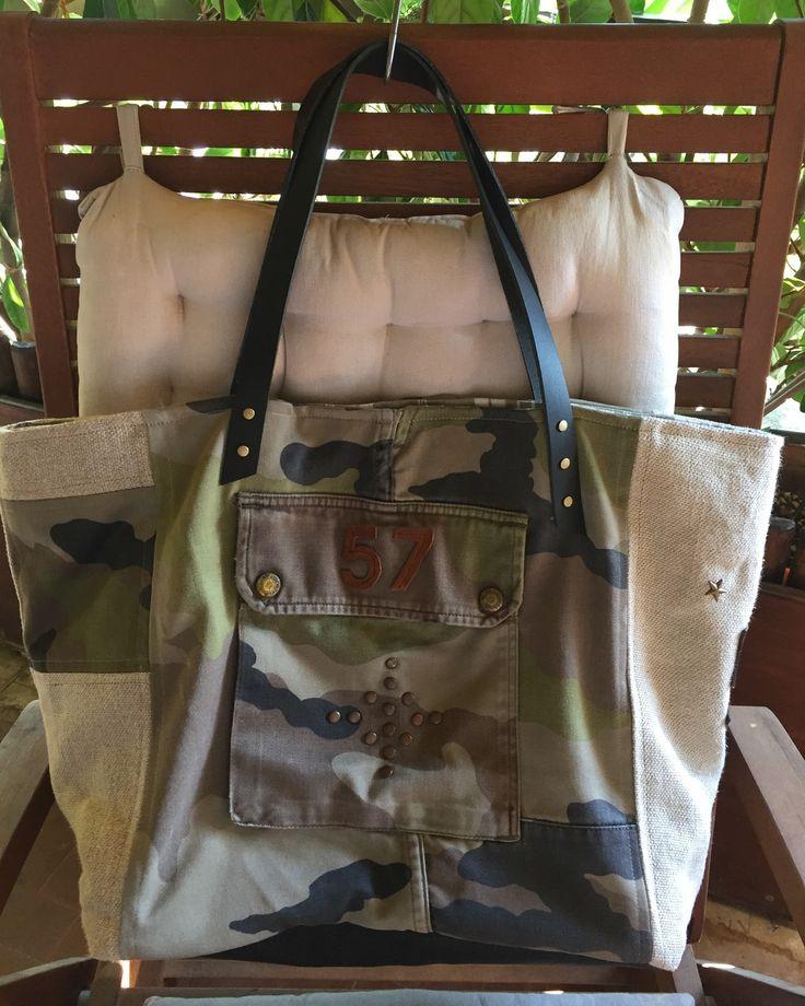 Grand sac cabas camouflage et cuir : Sacs à main par realisa