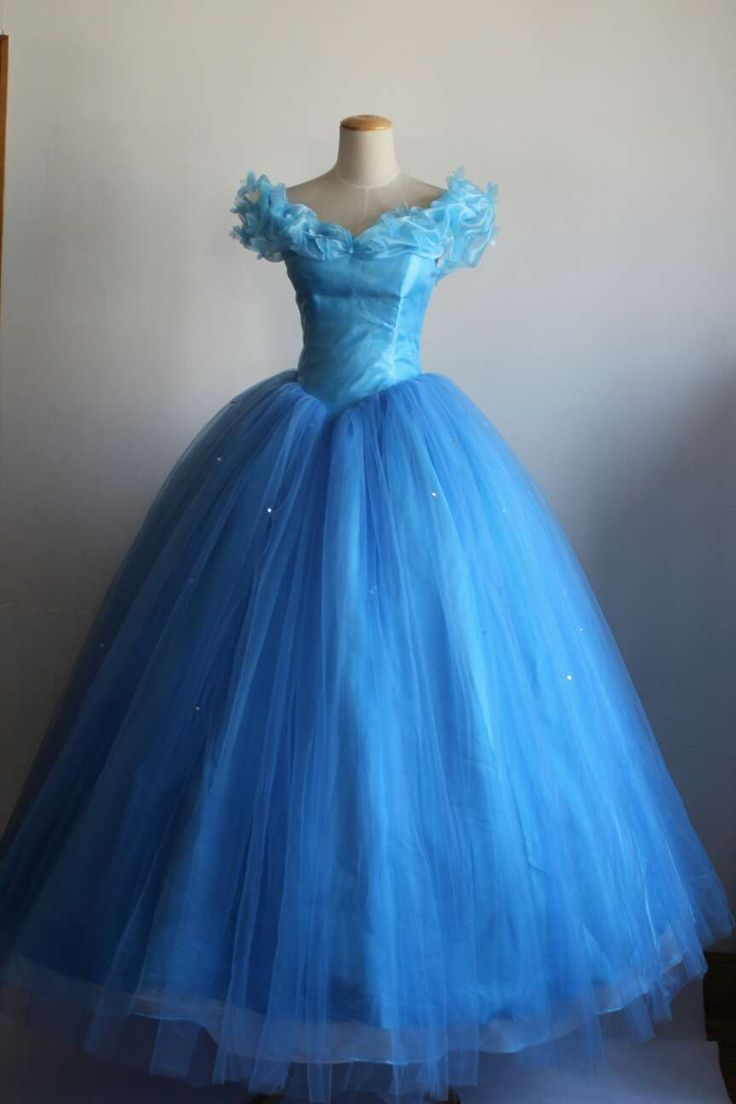 2015 New Movie Cinderella Princess Blue Costume Stage Party Fancy Ball Cosplay Dress Cosplay Dress