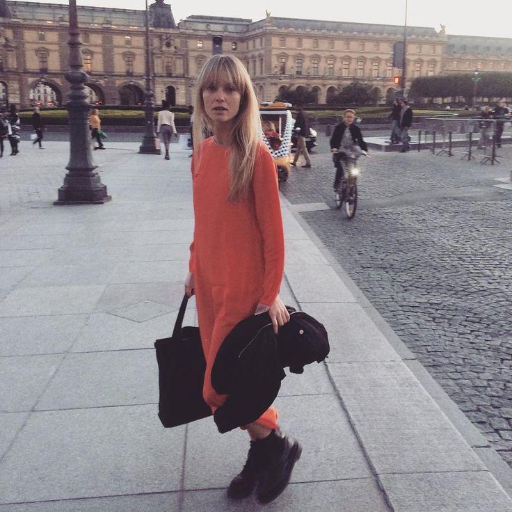 """675 Likes, 9 Comments - Jeanette Friis Madsen (@_jeanettemadsen_) on Instagram: """"🍊range in Paris #thisdress#orangeisthenewblack#fonnesbech#costumedk#loewe#drmartens#pfw"""""""