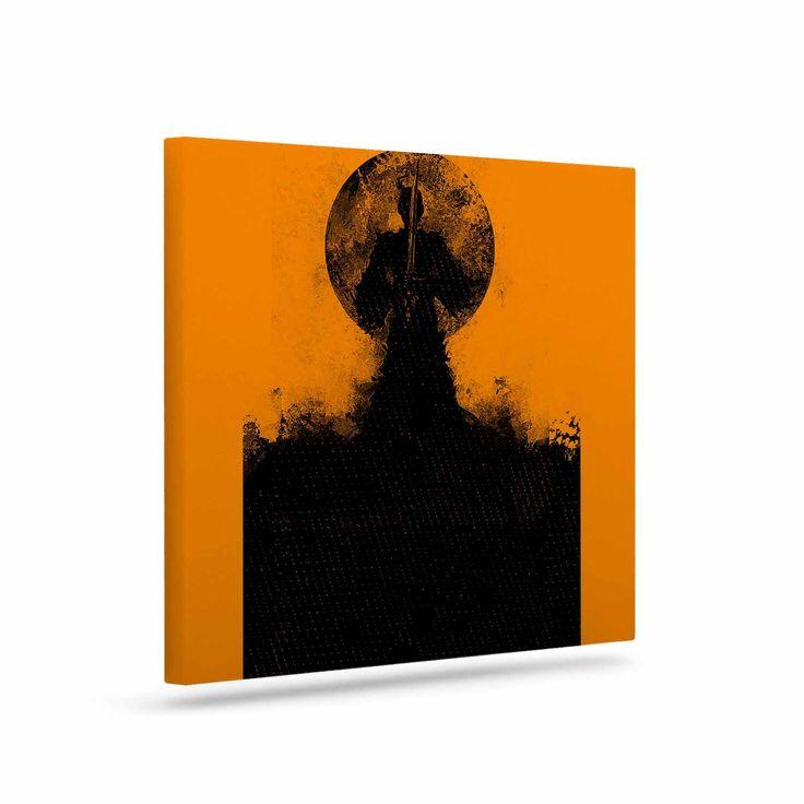 """BarmalisiRTB """"Black Samuari"""" Black Orange Canvas Art"""