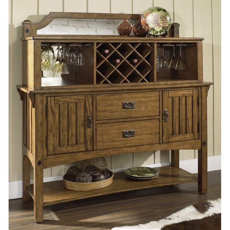 Somerton Dwelling Craftsman Server Hutch Set 92904 Dining RoomCraftsman Style