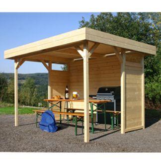 BBQ Shelter Garden Log Cabin Entertaining Area Regensburg By Solid 3.43m X  2.53m