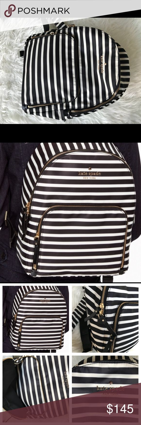 ♠️Kate Spade ♠️ Backpack Watson Lane Hartley ❤️❤️ Kate Spade Backpack Watson Lane Hartley, brand New, without tags, black and white stripes I bought it and the day that I was gonna use it, the part where the shoulder strap is attached came off and I took it to a professional to fix it, check last picture, the original is leather and the other one is the same material as the shoulder strap (not noticeable when using it) Retail $198+tax kate spade Bags Backpacks
