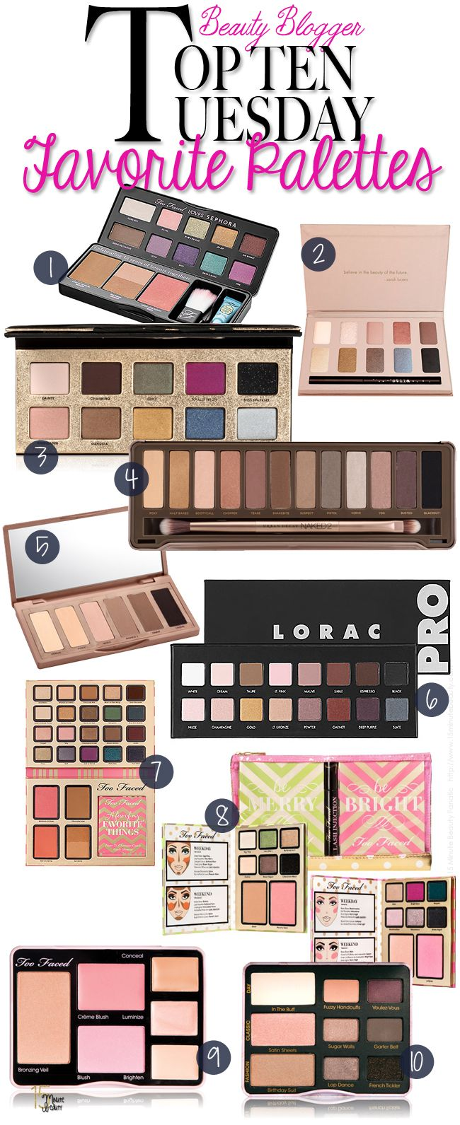 Top 10 Tuesday My Favorite Makeup Palettes