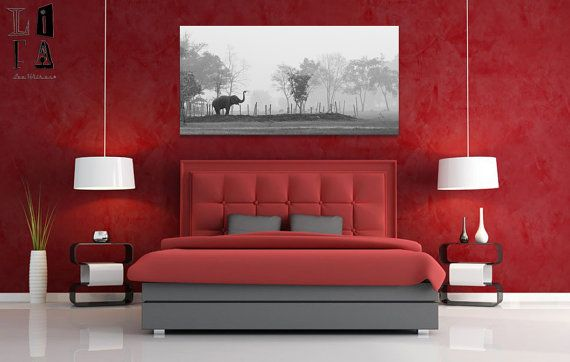 Elephant Haven. Fine art photograph on stretched canvas. Elephant in epic morning scene. Highest archival quality. 20 x 40 inch.