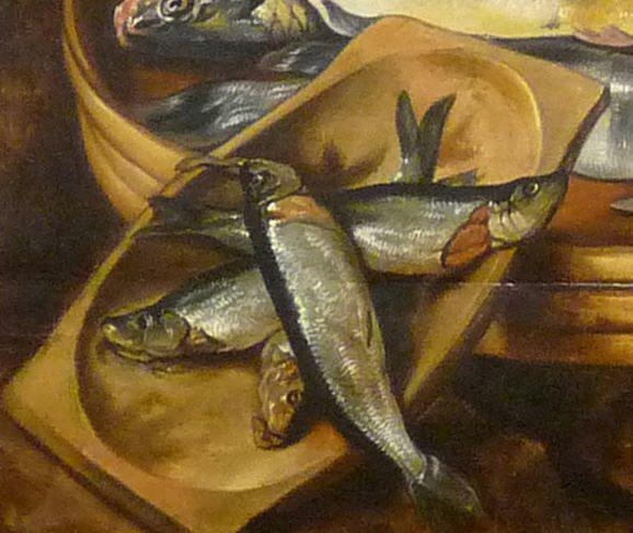 1568 Joachim Beuckelaer Circa 1533 1575 Fish Market Marche Aux Poissons Detail Wooden Platter Musee Des Beaux Arts De Strasbourg Painting Art Fish