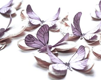 Lilac paper butterflies, vintage wedding decor, pastel baby shower decorations, pastel wall stickers, butterfly wall decals for baby girl