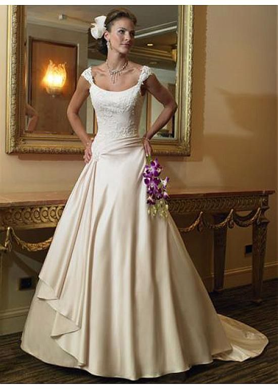 LACE BRIDESMAID PARTY BALL EVENING GOWN IVORY WHITE FORMAL PROM ELEGANT SATIN A-LINE BATEAU WEDDING DRESS