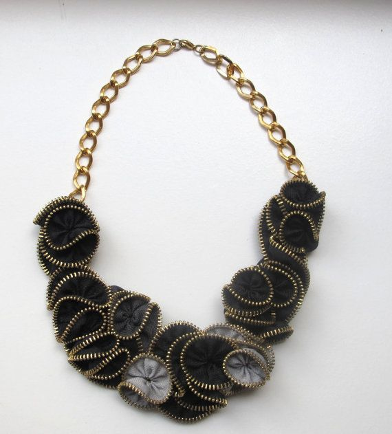 Black and Grey Zipper Necklace