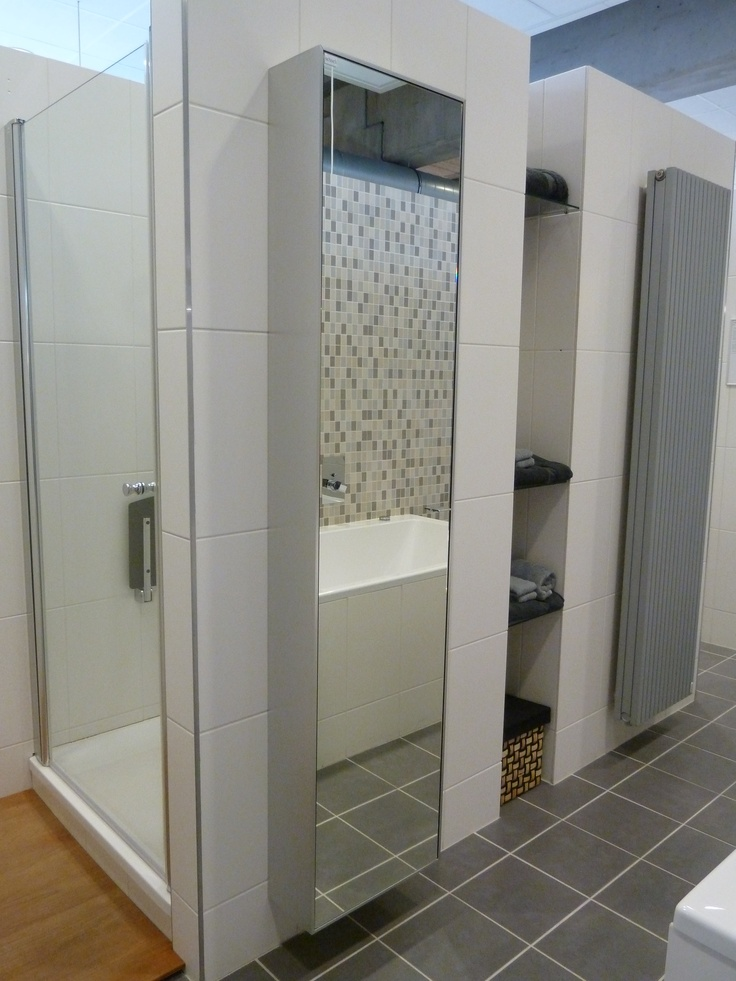 Ondiepe wandkast met spiegel aan beide zijden van de deur. Slimme combinatie van opbergruimte en een ruimtelijk effect. Gezien bij Plieger in Zaltbommel.