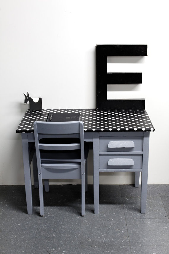 Big vintage kids desk and his school chair in mouth grey and black oilcloth with white dots