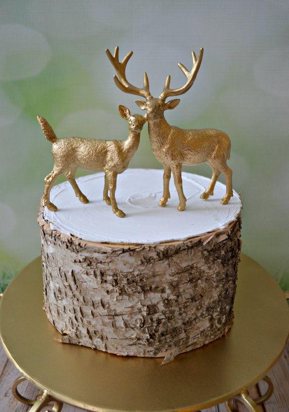 Gold deer-wedding-cake topper-fall-deer wedding-groom's cake-buck and doe-hunting-hunter-camouflage-rustic wedding-decorations-hunting groom