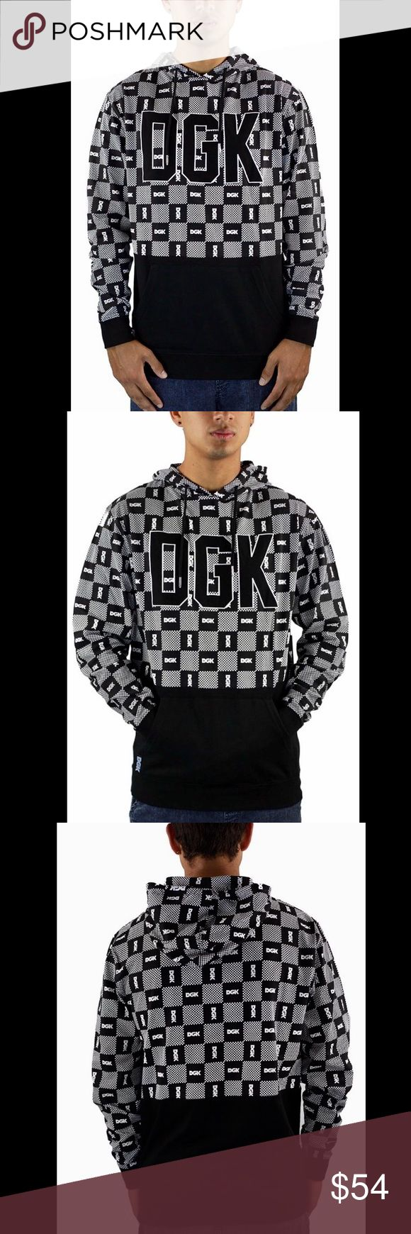 DGK Custom Checker Hooded Knit DGK Custom Checker Hooded Knit: Stand out on the streets with a black and Heather Grey DGK logo checker bring upper and grey lower body and a grey DGK applique on the chest of big style. Logo applique on the chest, adjustable drawstring hood, DGK logo patch on the lower front, kangaroo pouch pocket, made from 100% cotton, imported, in excellent condition, and still in original packaging. Shirts Sweatshirts & Hoodies