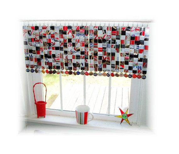 Man Cave Window Treatment Ideas : Man cave repurposed beer can window treatment valance