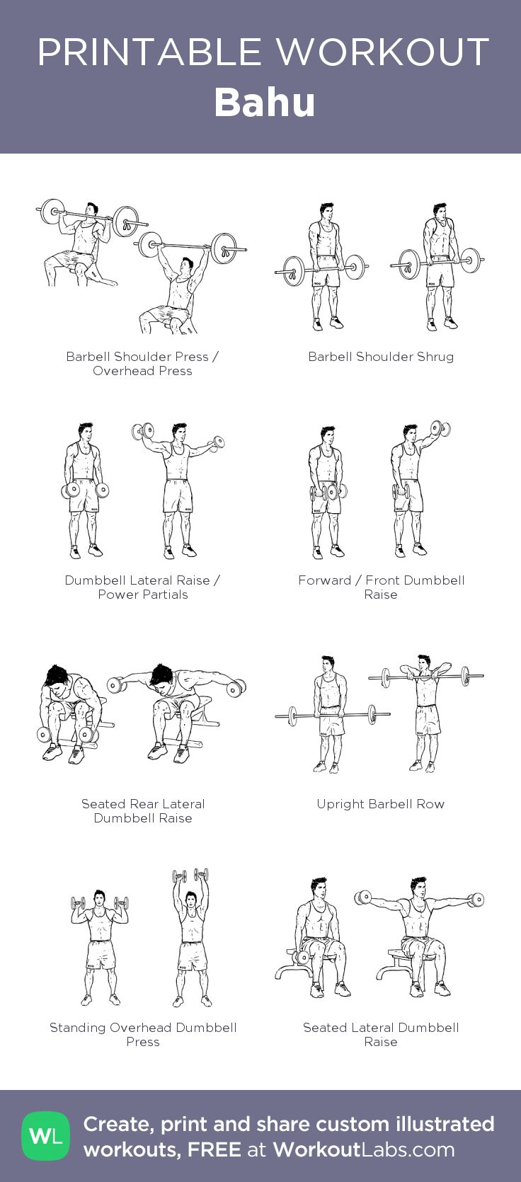 Bahu –my custom workout created at WorkoutLabs.com • Click through to download as printable PDF! #customworkout
