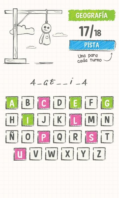 Ahorcado. Versión para Android de este clásico juego para repasar vocabulario.