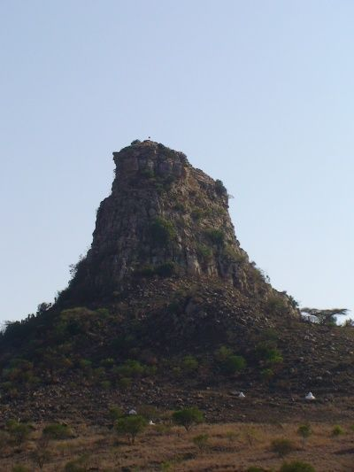 Isandlwana - the mountain looks like the Sphinx in Egypt - the cap badge of the 24th of Foot regiment fighting here was the shape of the Sphinx ...