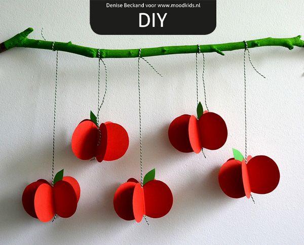 Appel van Papier - maak zelf een appeltjes mobile | Moodkids