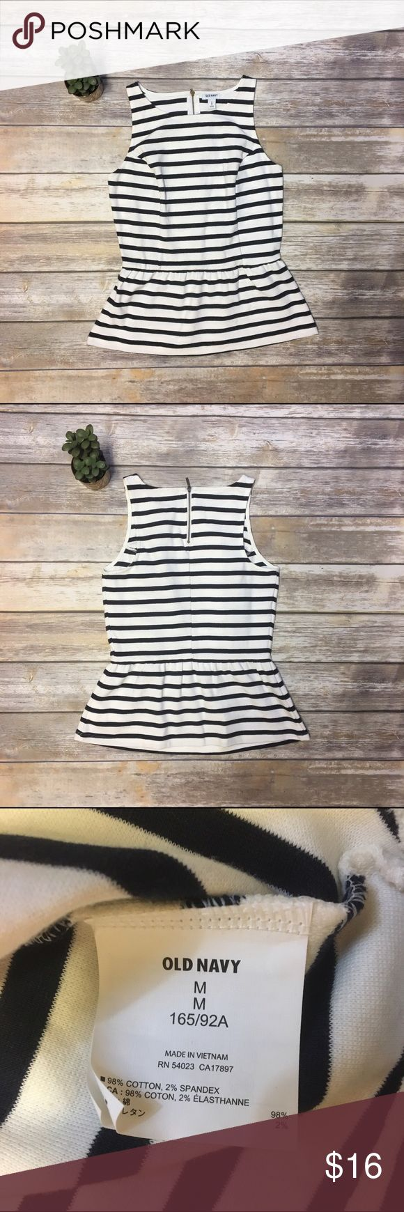 Old Navy Black and White Peplum Tank Adorable Peplum top in Black and White stripes. Exposed Zipper up the back and made of thick, stretchy material Old Navy Tops Tank Tops