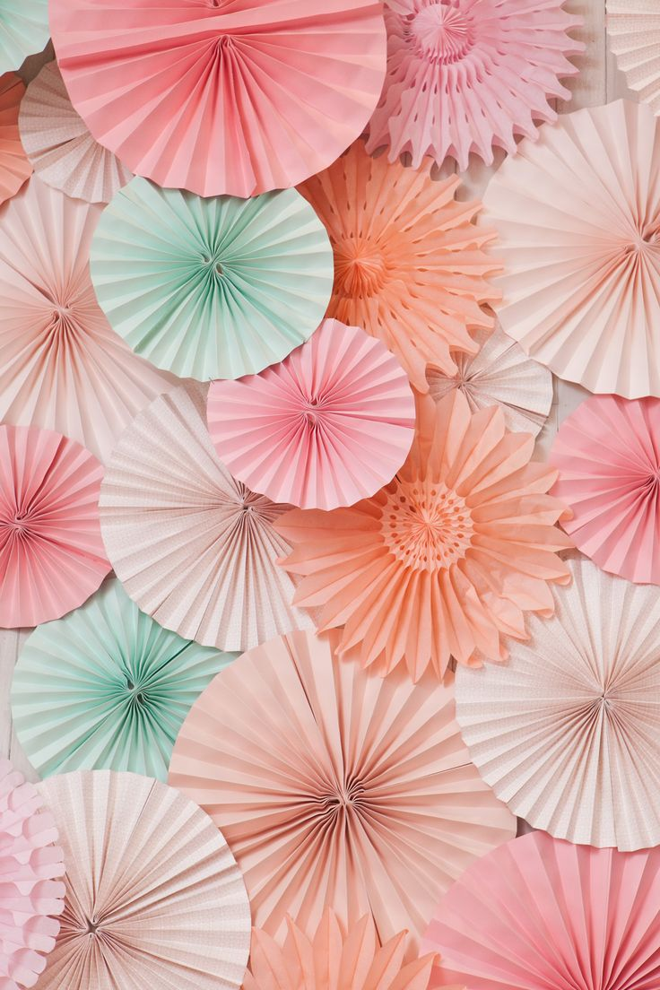 Minted wedding + party decor | The Sweetest OccasionWedding Parties, Fashion Style, Colors, Mint Coral, Paper Pinwheels, Paper Fans, Pinwheels Decor, Bridal Shower, Parties Decor