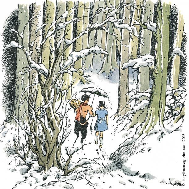 Lucy and Mr Tumnus from C.S. Lewis's The Lion, the Witch and the Wardrobe. Vintage illustration by Pauline Baynes - in Storytime Issue 13. ~ STORYTIMEMAGAZINE.COM