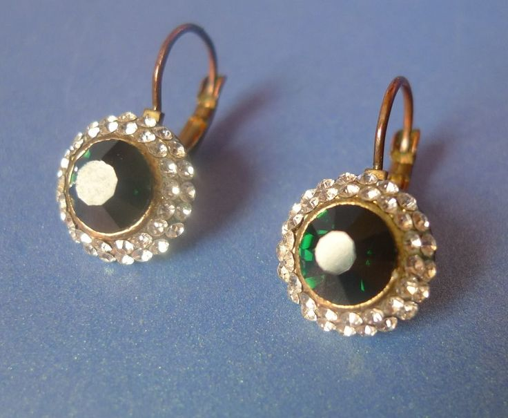 Vintage Retro Jewelry Bijoux EARRINGS White & Green rhinestones glass crystals